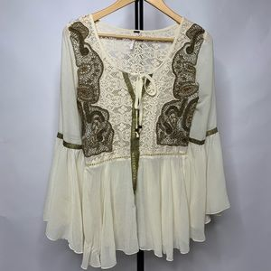 Free People Sheer Embroidered Bell Sleeved Shirt